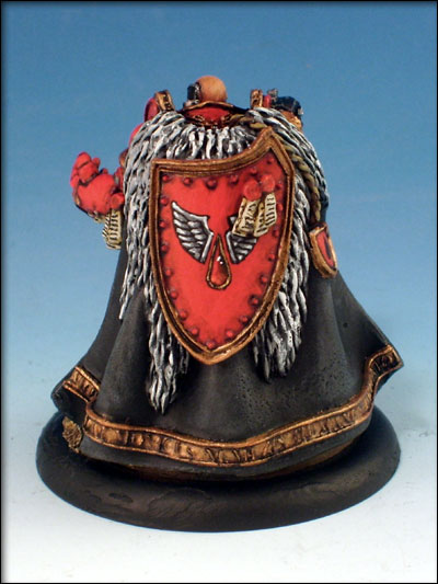 From the back, showing the freehand blood angels symbol on the shield